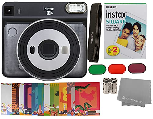 Fujifilm Instax Square SQ6 + Fujifilm Instax Square Instant Film (20 Sheets) Bundle with Sturdy Tiger Stickers + Deals Number One Cleaning Cloth (Graphite Gray)