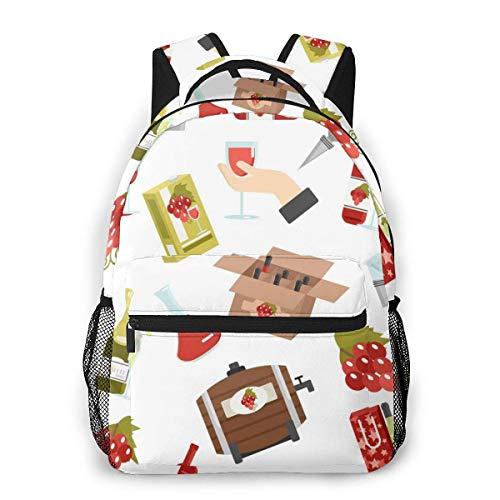 Lawenp Mode Unisex Rucksack Cartoon Wein und Holzfass Bookbag Leichte Laptoptasche für Schulreisen Outdoor Camping