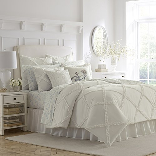 Laura Ashley Home | Adelina Collection | Luxury Ultra Soft Comforter, All Season Premium 3 Piece Bedding Set, Stylish Delicate Design for Home Décor, King, White