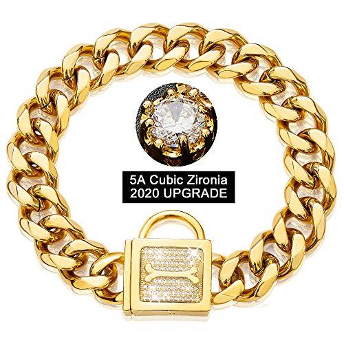 PRADOG Dog Collar with Zirconia Locking 19MM Gold Metal Puppy Collar Luxury Dog Bling Necklace Small Medium (19MM, 22