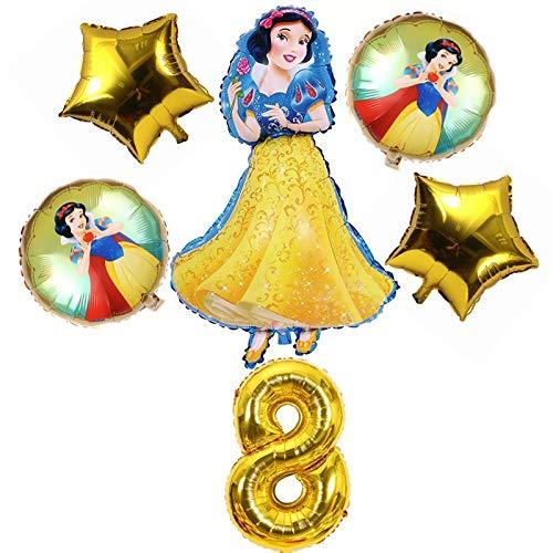 XIAOYAN Globos Disney Snow White Foil Globos Fiesta de cumpleaños Decoraciones Chica Princesa Helio Globos Set Niños Favores Juguetes Decoraciones Globos ( Color : Ballon Set 8 6pcs )