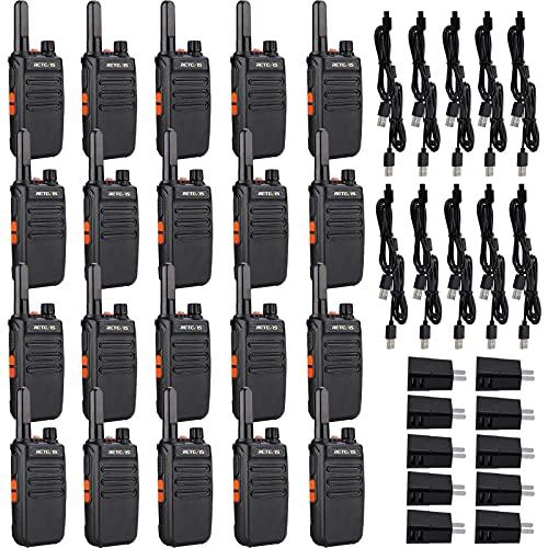 Retevis RB35 Walkie Talkies 20 Pack, Portable Two-Way Radios Long Range, Flashlight, Mini, Hands Free, Rugged Walkie Talkie Rechargeable, for Business School Restaurant Hotel Church (Black)