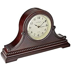 Vmarketingsite Mantel Clocks Wood Mantle Clock with Westminster Chime. This Solid Wood Decorative Chiming Mantel Clock is Battery Operated. Quiet, Shelf Table Clock Westminster Chimes On The Hour.