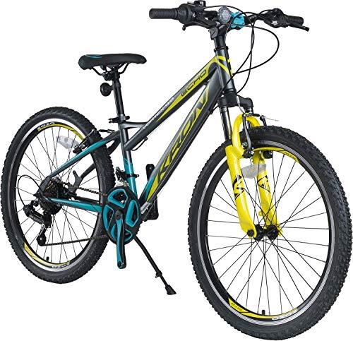 KRON Vortex 4.0 Hardtail Jugend Kinder Fahrrad 20 Zoll von 6-9 Jahre | 21 Gang Shimano Schaltung, V-Bremse, Federgabel, 11 Zoll Rahmen | Kids Mountainbike MTB | Grau Gelb Blau