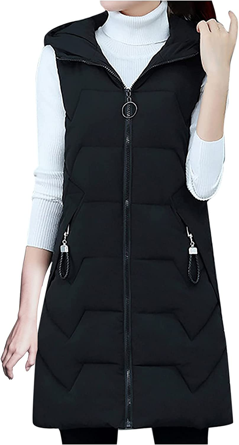 BOXIACEY Women's Warm Vest Casual Solid Color Pockets Sleeveless Coat Stand Collar Lightweight Zip Vest Outerwear