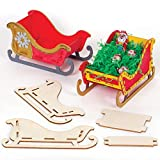 Baker Ross AT286 Wooden Sleigh Craft Kits - Pack of 5, Christmas Art Activities for Kids to Make, Decorate and Display