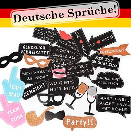 Trendico Fotorequisiten Hochzeit Fotobox Accessoires Hochzeit Photo Booth Hochzeit Fotobox Hochzeit Deutsche freche Sprüche extra groß Fotoaccessoire Junggeselleninnenabschied JGA