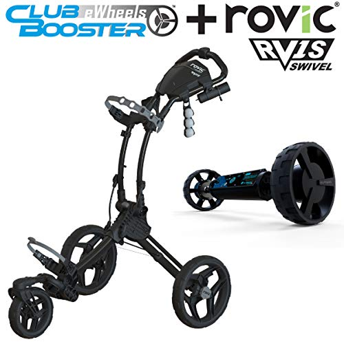 Alphard Club Booster eWheels and Rovic RV1S Swivel Golf Push Cart - Bundle & Save – Remote Control...