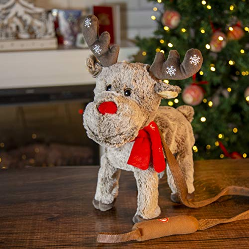 The Christmas Workshop Spinning, Walking & Dancing Musical Christmas Toys | Indoor Christmas Decoration | 3 Different Designs | Battery Operated (Walking Reindeer)