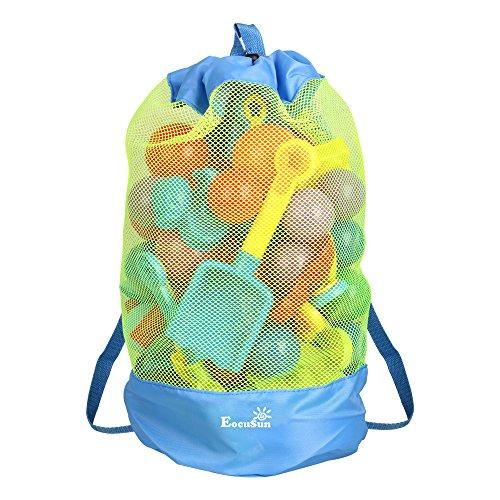 EocuSun Große Netz-Strandtasche mit Kordelzug, für Schwimm- und Poolspielzeug, Bälle, Aufbewahrungsbeutel, von Sand und Wasser fernhalten, Spielzeug nicht im Lieferumfang enthalten, Blau