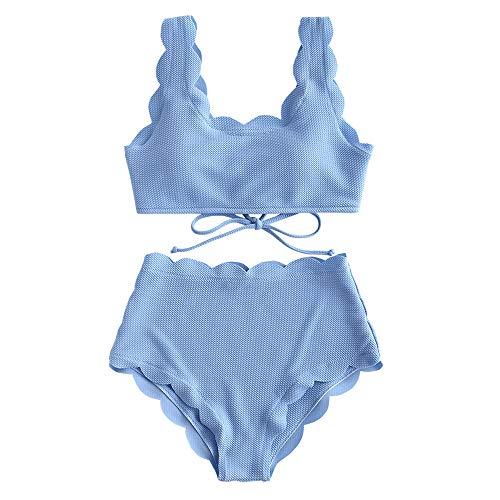 ZAFUL Women's Scalloped Textured Swimwear High Waisted Wide Strap Adjustable Back Lace-up Bikini Set Swimsuit Day Sky Blue L