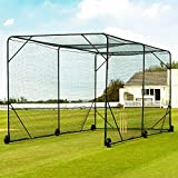 Fortress Mobile Baseball Batting Cage [24ft or 36ft] | Portable Wheel-Based Baseball Practice Net | Baseball Training Equipment | Baseball Net for Hitting and Pitching (36ft, with Padding)