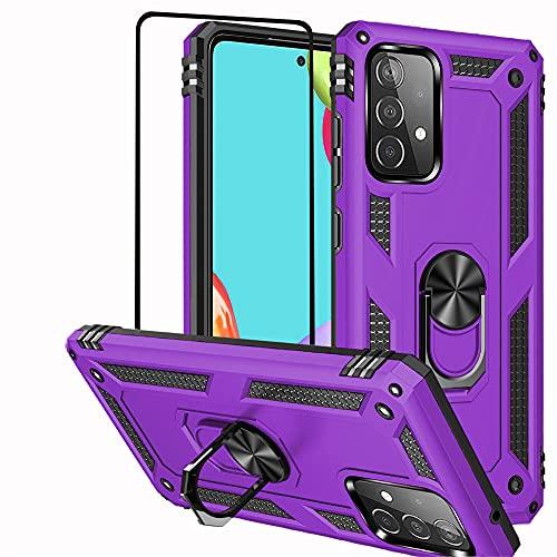 Funda para Samsung Galaxy A52 5G Folmeikat con protector de pantalla, anillo metálico giratorio 360 grados, absorción de golpes, esquinas reforzadas, TPU para Galaxy A52 5G (morado)