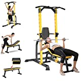 Fengicon - Juego de banco de pesas multifunción con barra horizontal, soporte para pesas para ejercicios totales de cuerpo, entrenamiento de fuerza, carga máxima de 1000 libras