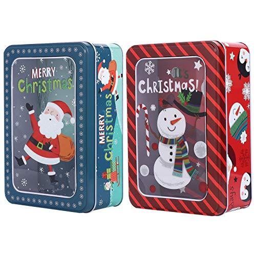 TOYANDONA 2 Piezas Cajas de Hierro de Hojalata Latas de Dulces Cajas de Dulces de Navidad Cajas de Regalo de Hierro Cajas de Almacenamiento de Galletas Adorables