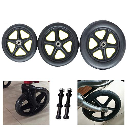 Gnova PVC Rollenräder en Schwarz für Rollstuhl,mit 0.8 cm Rollenlager,Stahl,Ersatzteil,Räder für Bollerwagen/Gehhilfen,2 Stücke
