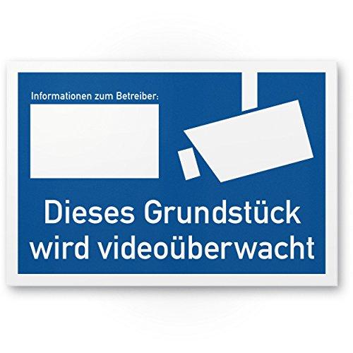 Grundstück videoüberwacht Kunststoff Schild nach DIN 33450 (30 x 20cm), Warnhinweis, Hinweisschild Videoüberwachung - Informationen Betreiber, Hinweis Videoüberwachung - Datenschutz BDSG/DSGVO