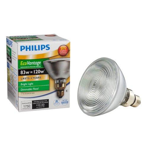 Philips 424985 83-watt PAR38 Halogen Flood Light Medium Skirted Base Dimmable Long Life Light Bulb