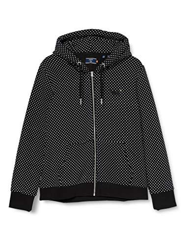 Superdry Womens ORANGE Label Zip Hood Cardigan Sweater, Black Dot, L (Herstellergröße:14)