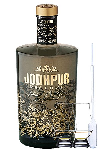 Jodhpur Reserve London Dry Gin England 0,5 Liter + 2 Glencairn Gläser und Einwegpipette