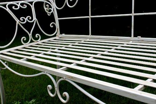 DanDiBo Gartenbank Romance Weiß 111183 Bank 146 cm aus Schmiedeeisen Metall Sitzbank - 5