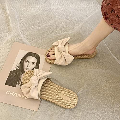 Zapatillas De Casa De Mujer Invierno Arco De Las Mujeres Lleva Un Cien Sandalias Deportivas De JardíN De Playa De Fondo.-EU 35 (225mm / 8.85')_c