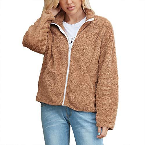 Plot Damen Teddy-Fleece Jacken Revers Winter Cardigan Mantel Outwear Strickjacke Wintermantel Winterjacke Teddyfell Jacken Trench Coat
