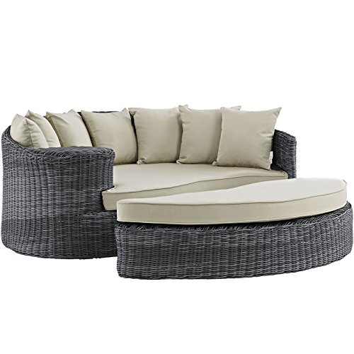Modway Summon Wicker Rattan Aluminum Outdoor Patio Poolside Sectional Daybed with Sunbrella Fabric Cushions in Antique Canvas Beige