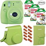 Fujifilm Instax Mini 9 (Lime Green), 3X Instax Film (60 Sheets), Groovy Case, Album and Hanging Pegs