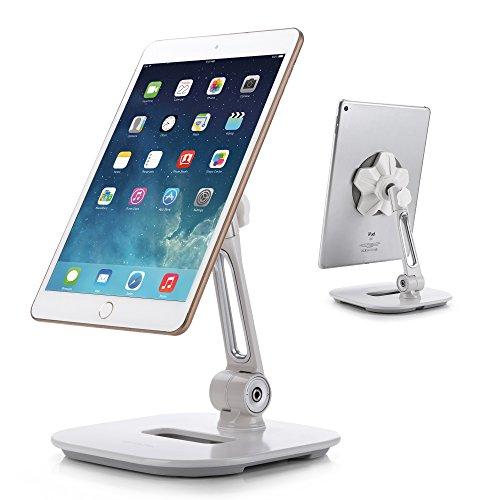 AboveTEK Sleek Magnetic Tablet Stand, Aluminum iPad Cell Phone Stand w/ Extra Bonus Metal Disks, 360° Swivel iPhone/iPad Magnet Mount for Kitchen Tabletop Bedside Office Desk Kiosk Reception Display