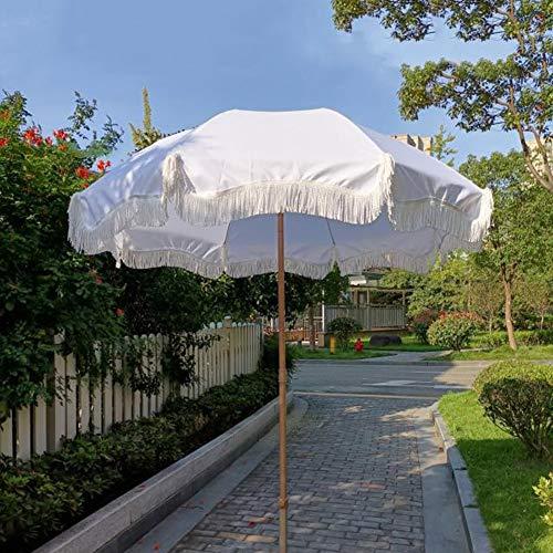 LNX Parasol de Jardin Parasol de Terrasse Parasols Ronds de Balcon, Parapluie Pompon Blanc, avec Fonction d'inclinaison, Hauteur Ajustable, Parasol de marché, Parasol décoratif extérieur