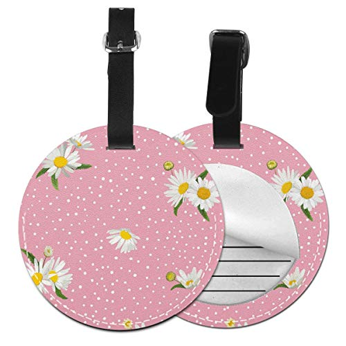 Slaytio Customizable White Daisies On A Pink Background Round Luggage Label Suitcase, PVC Wristband Suitcase Label
