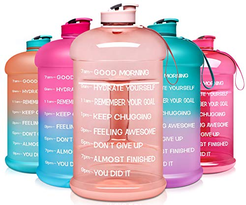 Venture Pal Large 128oz Leakproof BPA Free Fitness Sports Water Bottle with Motivational Time Marker to Ensure You Drink Enough Water Throughout The Day-1 Gallon-Light Pink