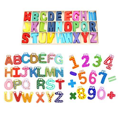Smavles Letras Madera 171 Piezas Letras y Números de Madera Letras y Números Magnéticos para Niños Aprendizaje Temprano Juguetes de Madera Educativos para Bebé