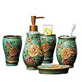 VOAOV Elegante Set di Accessori da Bagno in Ceramica, 5 Pezzi, Motivo Floreale, Incluso Dispenser di Sapone, Portasapone, Portaspazzolino E 2 Tazze per Spazzolino, per Hotel E Casa