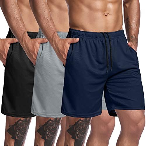 COOFANDY Confezione da 3 pantaloncini da allenamento da uomo, in rete, per sollevamento pesi, per bodybuilding, jogging, con tasca nero, grigio, blu marino XL