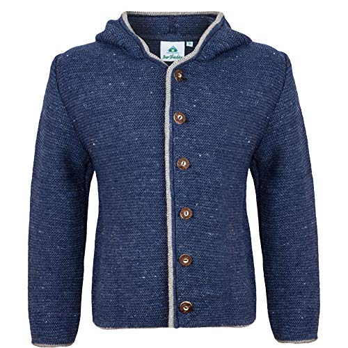 Kindertrachtenjacke Jeansblau mit Kapuze | Kinder Strickjacke | Trachten Jacke | Strickjacke Jungen (116)