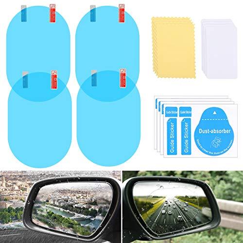 4 Stücke Auto Spiegel Folie HD Anti Nebel Auto Rückseite Aussicht Spiegel Folie Regenfest Wasserdicht Auto Regen Folie Auto Fenster Klar Aufkleber mit Werkzeug Kit für Auto Rückspiegel