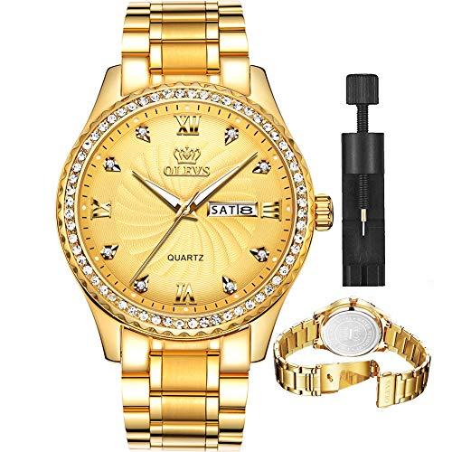 Gold Watches for Men Stainless Steel Luxury Dress Watch Quartz Wrist Watch,OLEVS Watch Men Fashion Classic Gold Diamond Watch Date Day Waterproof Wristwatches Men's Luminous Dial,relojes de Hombre