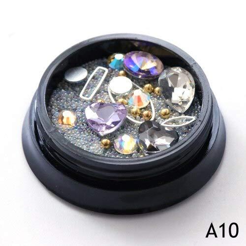 Meiyy Nageldecoratie, 1 verpakking, kaviaarkralen, mix, nail art met strass, mini parels, ring van metaal, glitter, kristal, manicure met hanger voor nail art decoratie A10