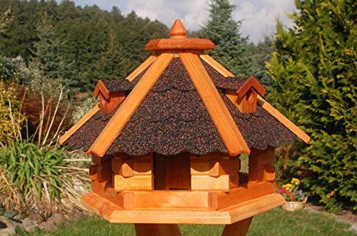 DEKO VERTRIEB BAYERN XXL Premium Vogelhaus mit/ohne Solar/Ständer Holz Futterhaus Vogelfutterhaus Vogelvilla Vorratsfütterung, Farbe: Dunkel ohne Solar