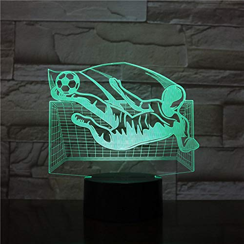 3D Optical Illusion led Night Lights for Kids Boys Girls Lamps 3D Football Shooting Soccer LED Light Best Gifts for Soccer Fans 7 Colors Bedroom Decorations Home Desk Table Lighting Remote Touch Toy