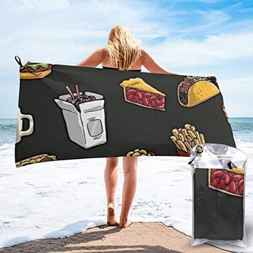 Beach Towels Hamburguesa de pierna de pollo, bebida, toalla ligera de secado rápido, toalla súper absorbente sin arena para viajes, natación, gimnasio, yoga 140X70CM