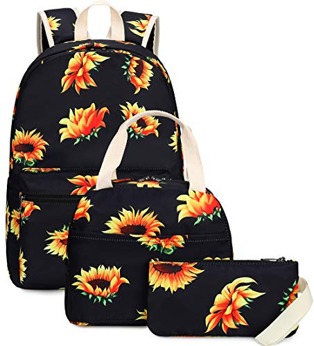 Grils School Backpack Sunflower School bags Bookbag with Insulated Lunch Bag and Pencil Case for Teens Womens