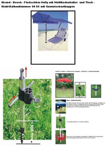 STABIELO Hollysun ® Beachway-Fächer-Sonnenschirm - blau - mit ALUMINIUM Multibodenhalter + Exklusiven Bezugsstoff Polyester 160 g / m² - ZANGENBERG - HUSUM - INNOVATIONEN MADE in GERMANY - HOLLY PRODUKTE STABIELO ® - holly-sunshade ®
