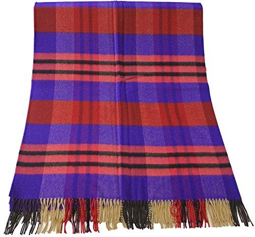 Rotfuchs Couverture en laine Couverture Couverture Couverture à carreaux Plaid violet rouge 100% laine (Mérinos)