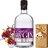 English Drinks Company London Dry Gin Gift Set, Box of Hamlet Chocolates, Bouquet of 30 Mixed Freesias and Name-a-Rose Gift