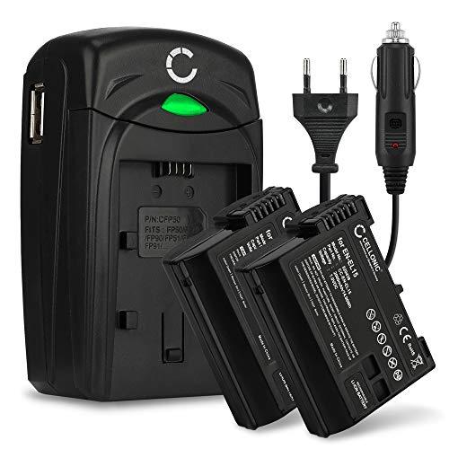 CELLONIC 2X Batería Compatible con Nikon EN-EL15 D7000 D7100 D7200 D750 D7500 D800 D800E D810 D810A D810E D850 D500 D600 D610 1 V1 + Cargador MH-25 Pila Repuesto EN-EL15a