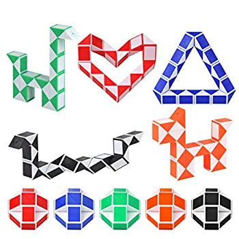 Hotusi 24 Pack 24 Blocks Magic Speed Cube Mini Snake Twisty Puzzle Toys for Children s Intelligence Development Party Bag Fillers Party Favour Random Colors