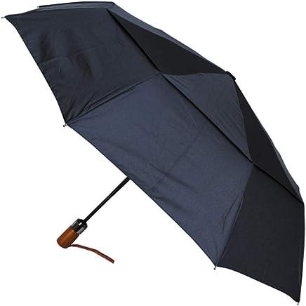 COLLAR AND CUFFS LONDON - 80KPH 9 罗纹强韧 WINDPROOF 框架 带玻璃伞 - 木制直柄 - 通风双顶篷 - 紧凑 - 自动开合和关闭 - 黑色